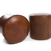 Pouf en cuir : vue de dessus et vue de profil